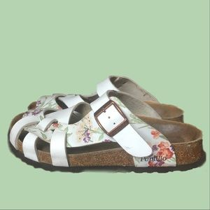 Papillio by Birkenstock white flowered sandals